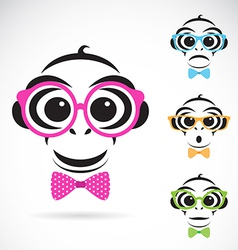 Image of a monkey wearing glasses vector