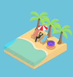 isometric businessman relaxing on beach vector image