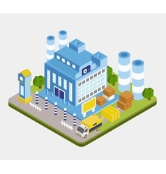 Isometric factory building vector