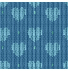 Knitted background with hearts vector