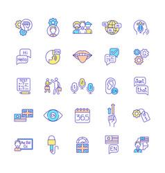Language acquisition rgb color icons set vector