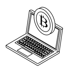 laptop with cryptocurrency black and white vector image