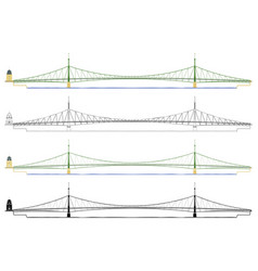 Liberty bridge in budapest in front view vector