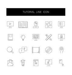 line icons set tutorial pack vector image