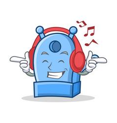 Listening music pencil sharpener character cartoon vector