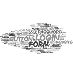 Login word cloud concept vector
