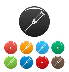 Medical crutch icons set color vector