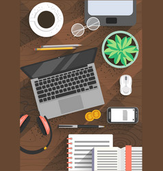 modern office workplace poster design vector image