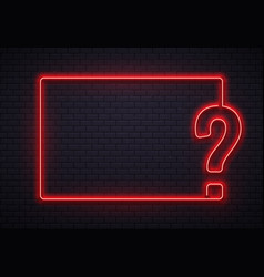Neon question mark frame quiz lighting vector