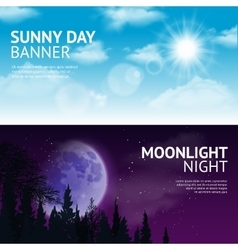 Night and day banner set vector