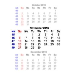 November 2016 Calendar week starts on Sunday vector image