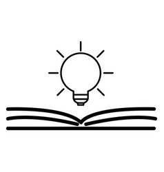 open book with shining bulb flying out flat icon vector image