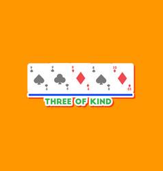 Paper sticker on stylish background poker three vector