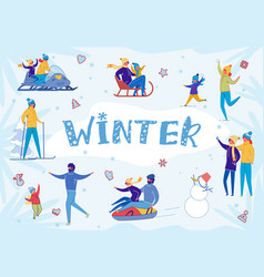 People having fun enjoying winter snow activity vector