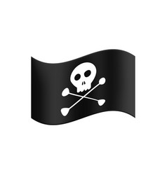 pirate flag waving in wind on a white isolated vector image