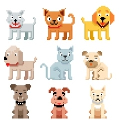 Pixel art pets icons 8 bit dogs and cats vector image