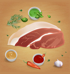 pork with tasty sauces and spices vector image