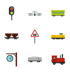 railway icons set flat style vector image vector image