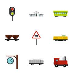 railway icons set flat style vector image