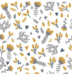 Seamless floral pattern with berries in doodle vector