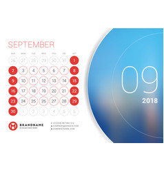 September 2018 desk calendar for 2018 year design vector