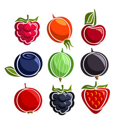 set colorful berries icons vector image