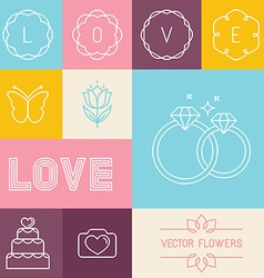 set linear icons for wedding invitations vector image