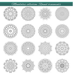 Set of decorative ethnic mandalas outline vector