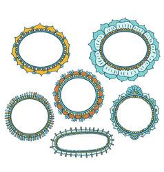 Set of floral doodle frames vector