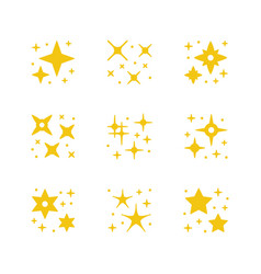 Set yellow icons sparkling and twinkling vector