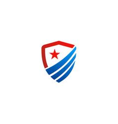 shield emblem star protection logo vector image