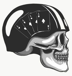 skull in helmet with retro racer glasses vector image