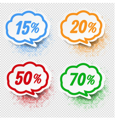 speech bubble collection with percent transparent vector image