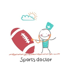 Sports doctor listens to a stethoscope football vector