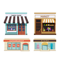 storefront set of different colorful shops market vector image