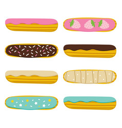 sweet french pastry eclair in cartoon style vector image