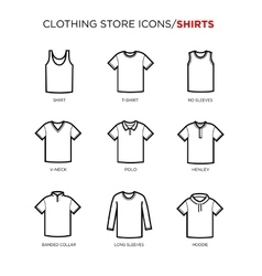 T shirt icon set vector image