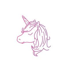 Unicorn cute logo design vector