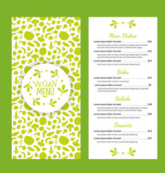 vegan food menu template with main dishes salads vector image