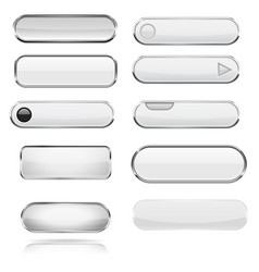 White menu 3d buttons with chrome frame vector