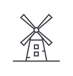windmill line icon sign vector image