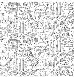 Winter doodle seamless pattern vector