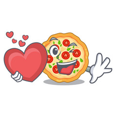 with heart margherita pizza isolated with the vector image