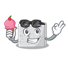 with ice cream feta cheese pieces character vector image