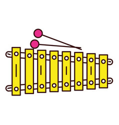 Xylophone instrument musical icon vector