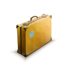 Yellow suitcase with sticker realistic icon on vector image