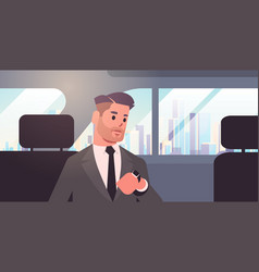 Young businessman looking at clock checking time vector