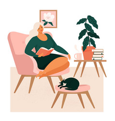 Young girl sitting in comfortable armchair vector