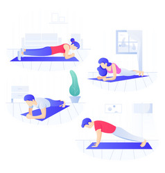 young people doing plank core workout working vector image
