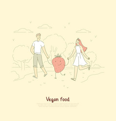 young vegan couple husband and wife on outdoor vector image